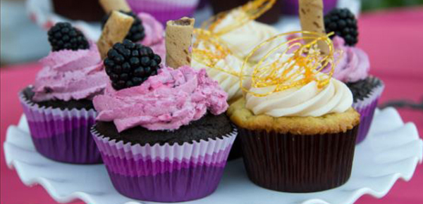 A displayed variety of cupcakes.